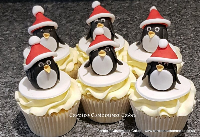 Christmas penguin cupcakes