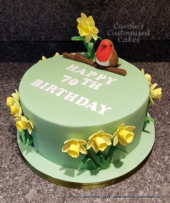 daffodils and robin cake