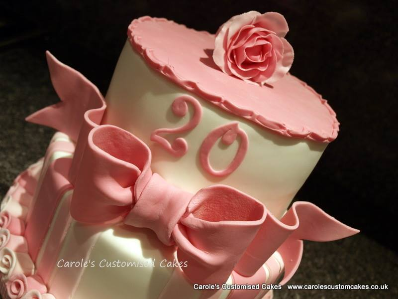 pink bow and ribbon roses birthday cake