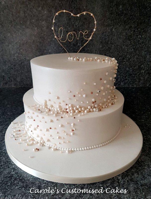Beaded pearl anniversary cake