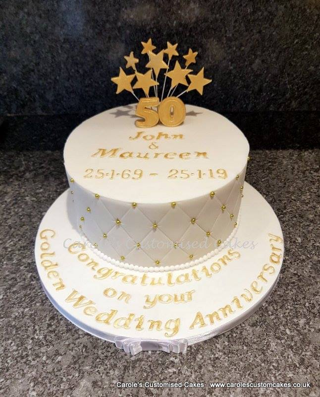 Golden wedding anniversary cake with