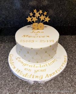 Golden wedding anniversary cake with