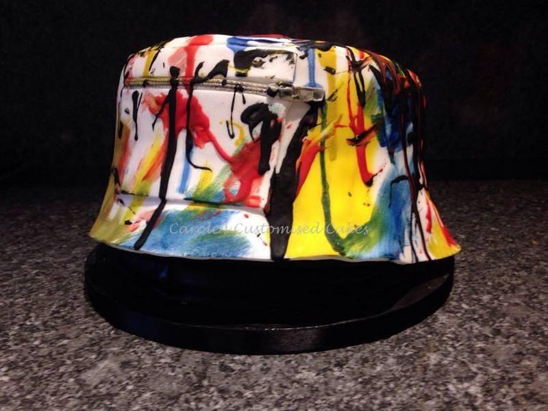 paint splattered hat cake