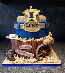 western themed 1st birthday cake