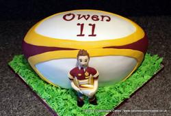 rugby player birthday cake
