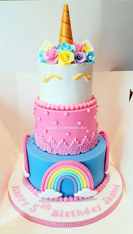 unicorn and roses cake
