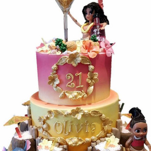 Hawaii themed 21st birthday cake