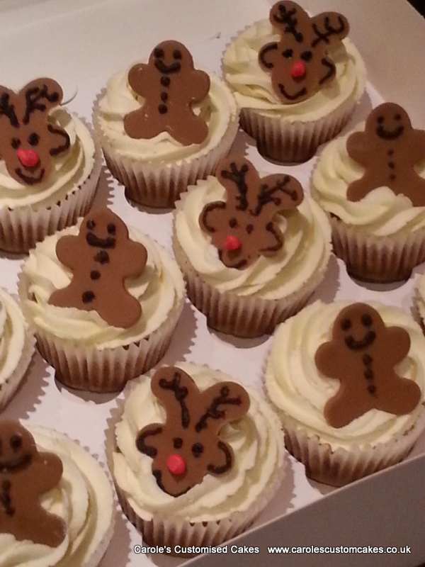 Gingerbread men and reindeer cupcakes