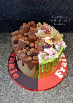 half and half drip cake