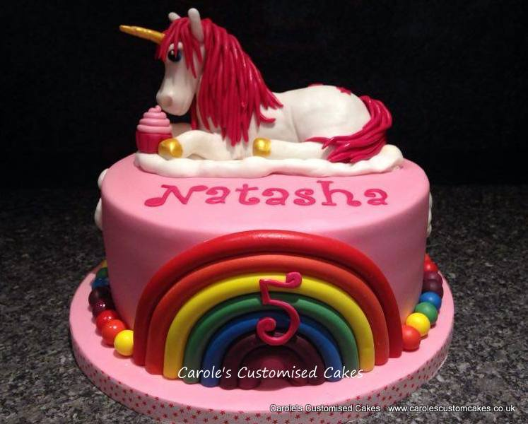 unicorn and rainbow cake