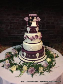 4 tier aubergine wedding cake