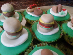 burgers on cupcakes