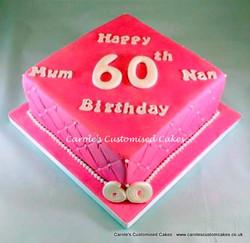 Hot pink 60th birthday cake