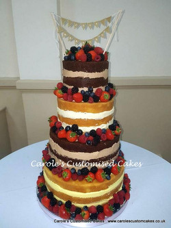 Four tier naked wedding cake