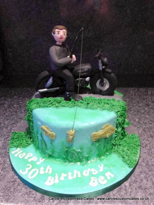 Man on a bike fishing cake