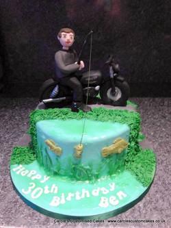 Fishing on a motorbike cake