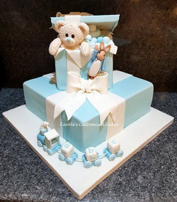 Teddy in a box and train cake