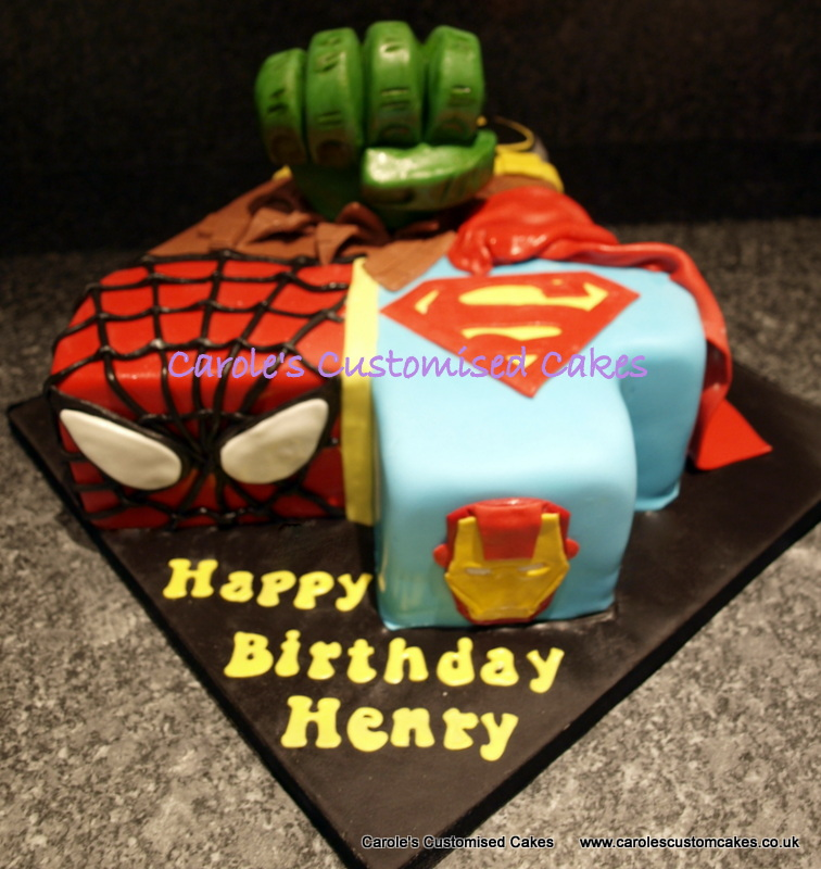 Superhero number 4 cake