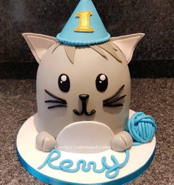 Party cat 1st birthday cake
