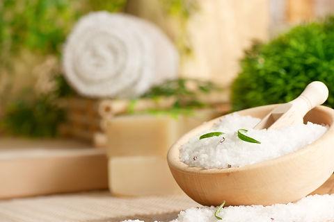 Spa setting with bath salt and towel..jp