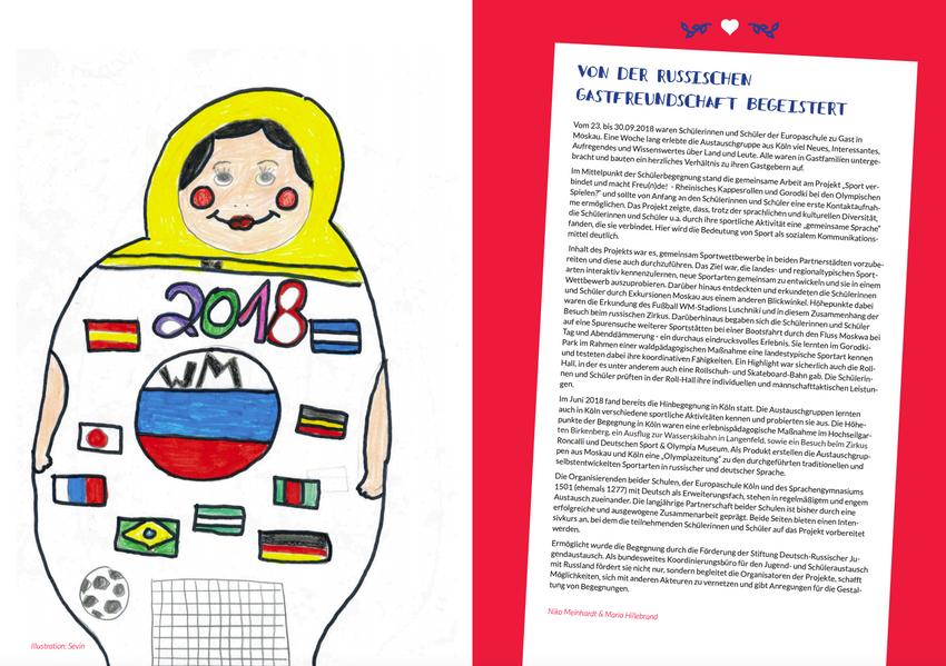 """Zur """"Olympiazeitung"""" der Schülerinnen und Schüler im Austausch mit Russland 2018."""