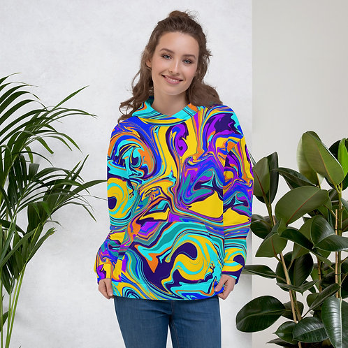 Yellow and Blue Swirl Abstract Unisex Hoodie
