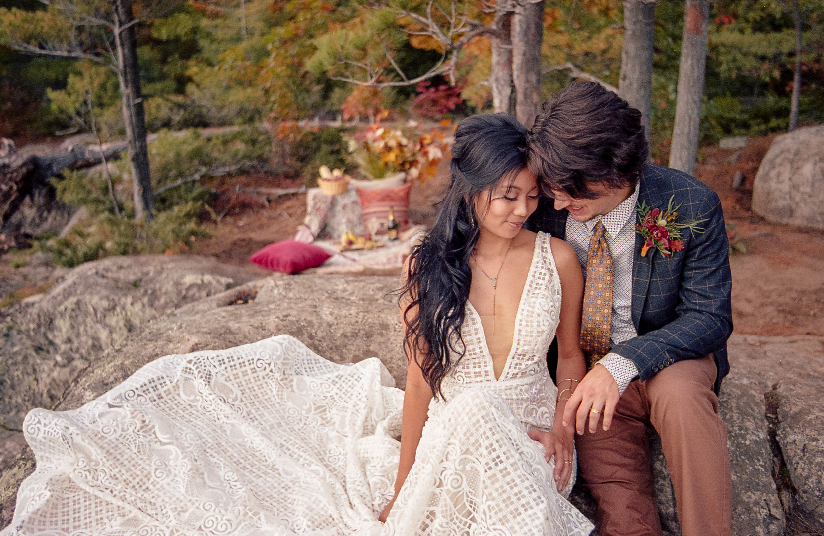 Bride and Groom outdoors in the autumn with picnic