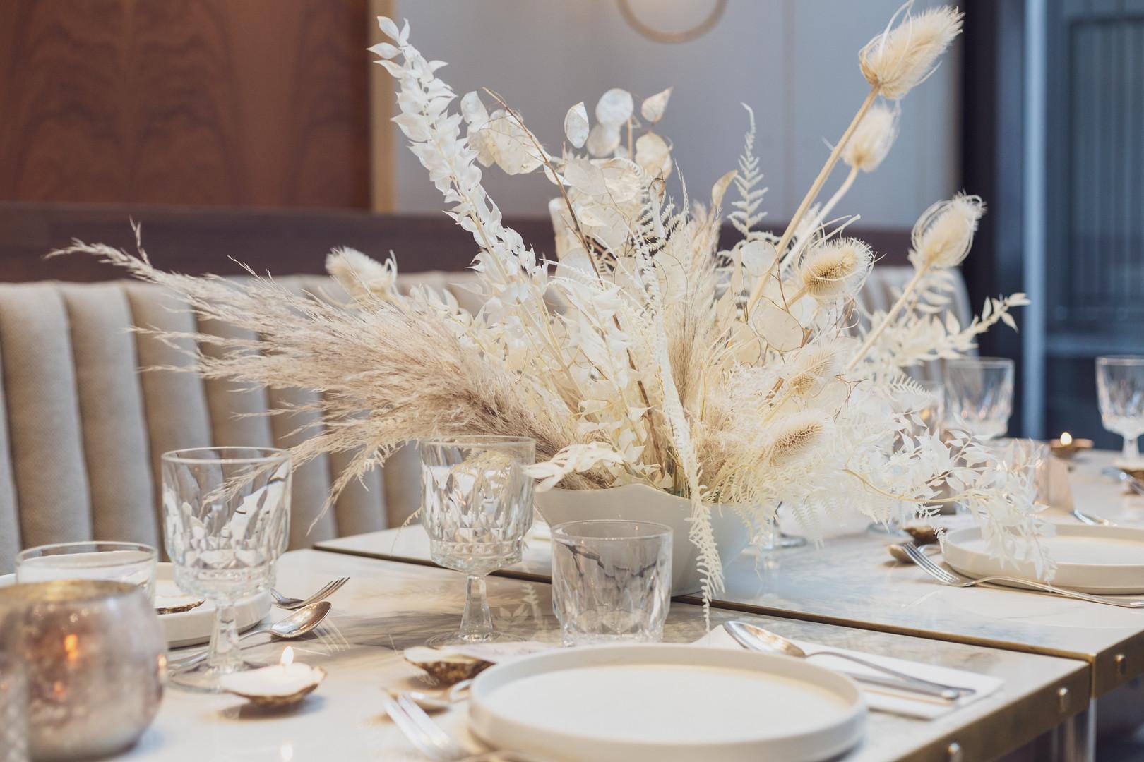 Dried flower centrepiece