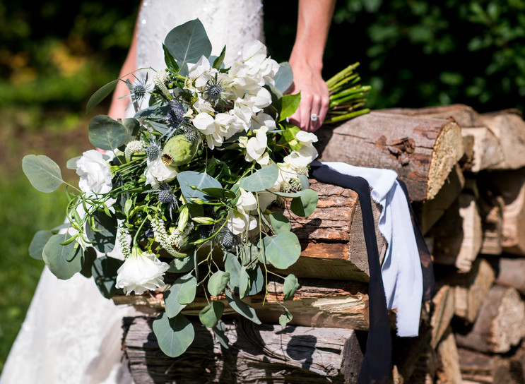 Bride's bouquet with silver dollar eucalyptus and lisianthus