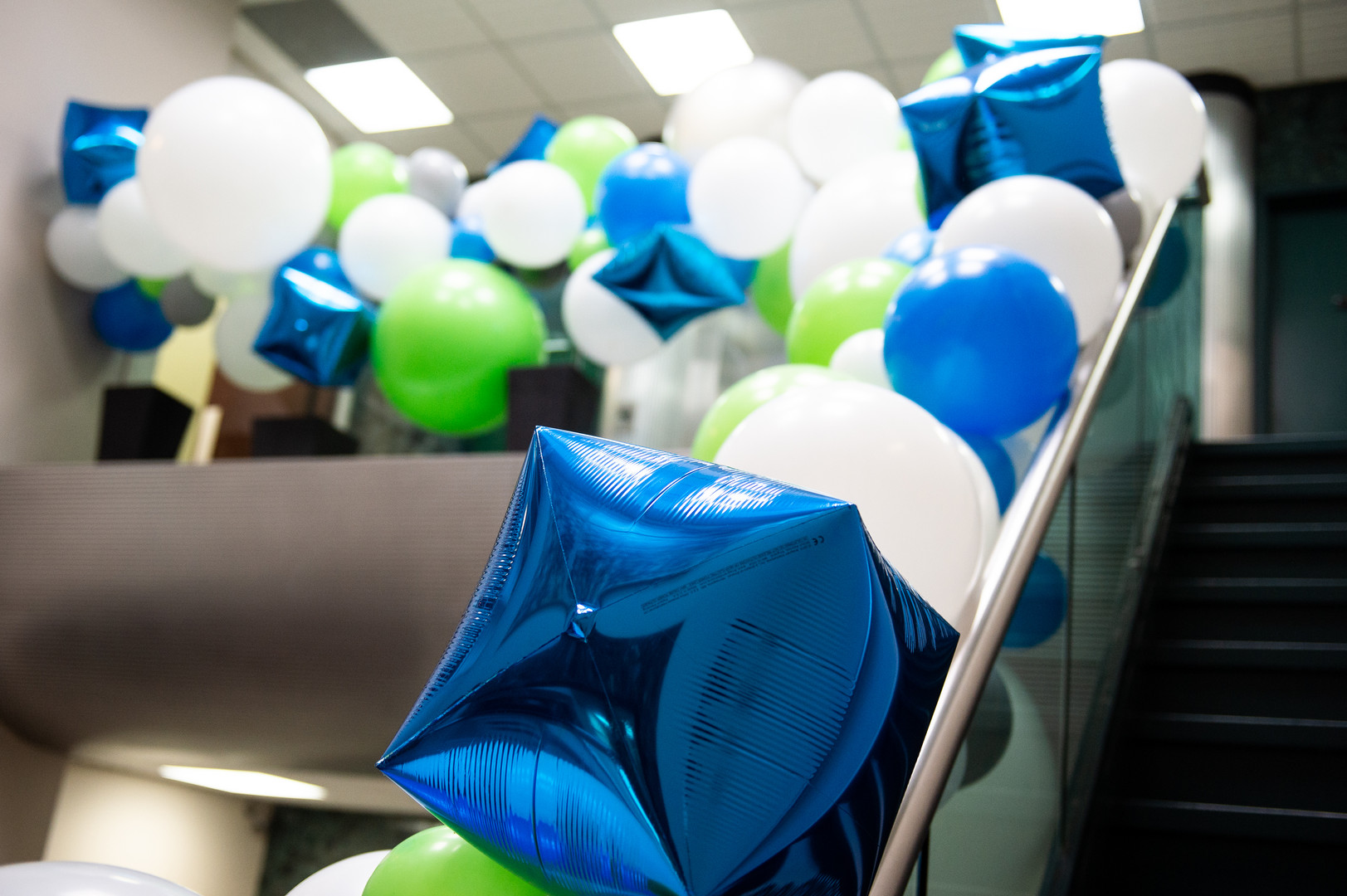 Balloon Installation on office building staircase