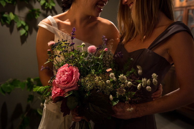 Bride and Maid of Honour with bouquets