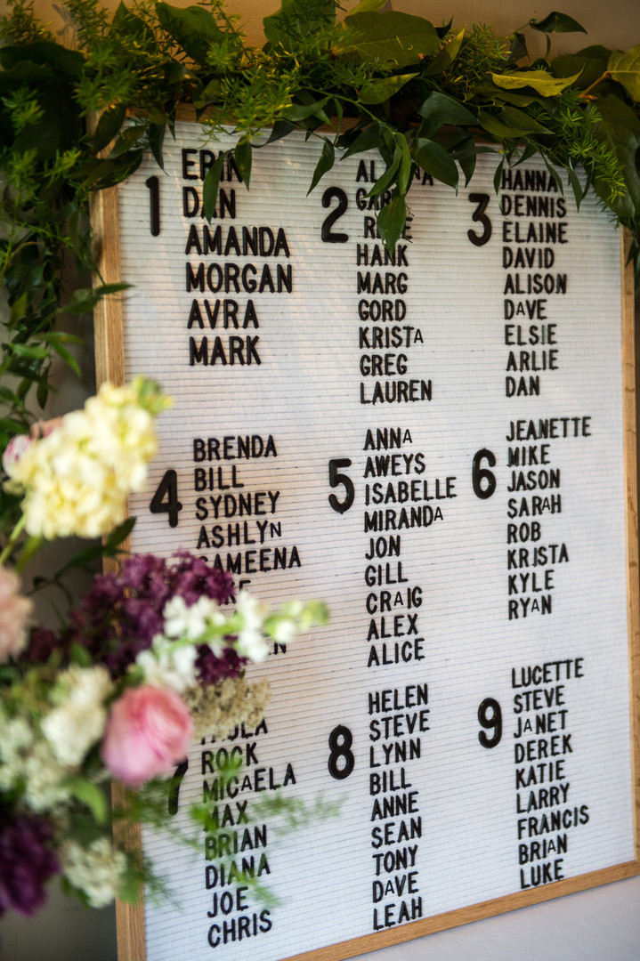 Wedding reception seating chart using a letter board