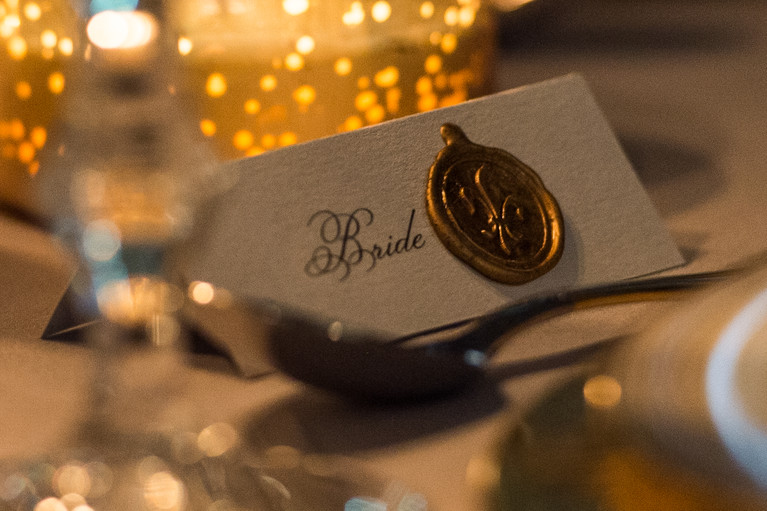 Wedding place card with wax seal