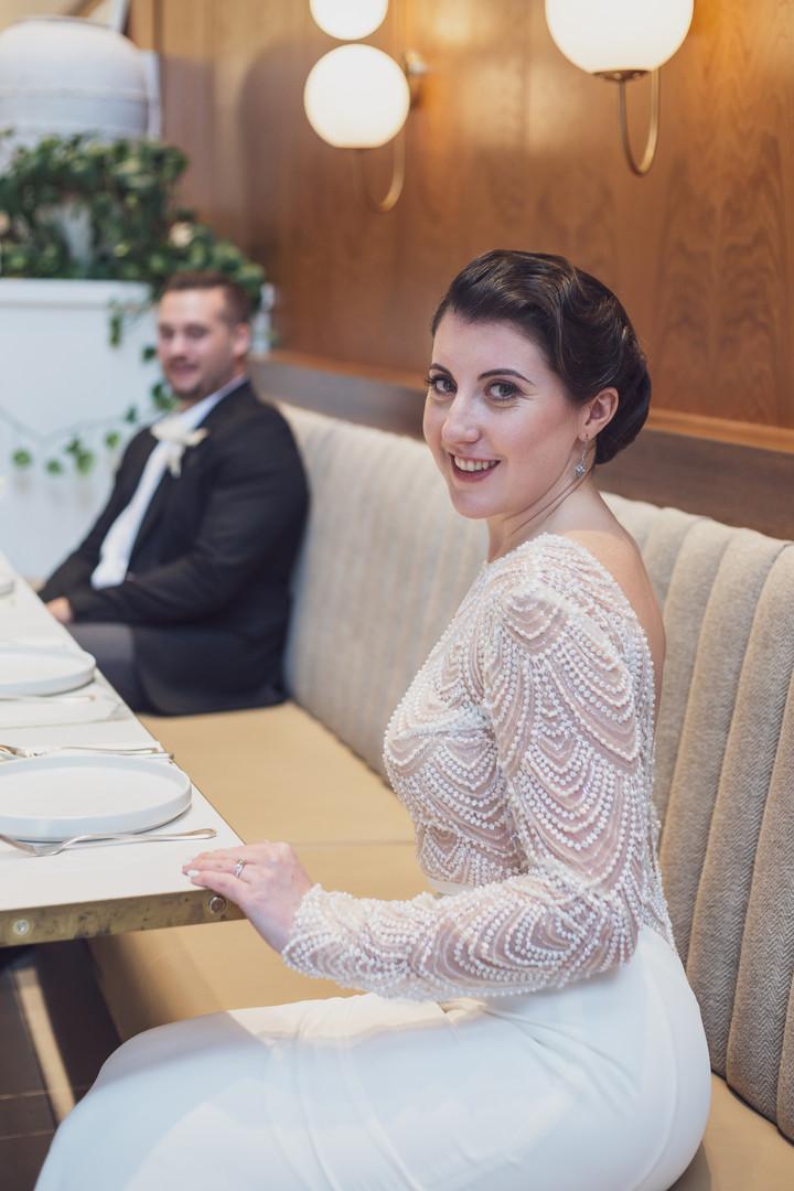 Bride at the wedding reception