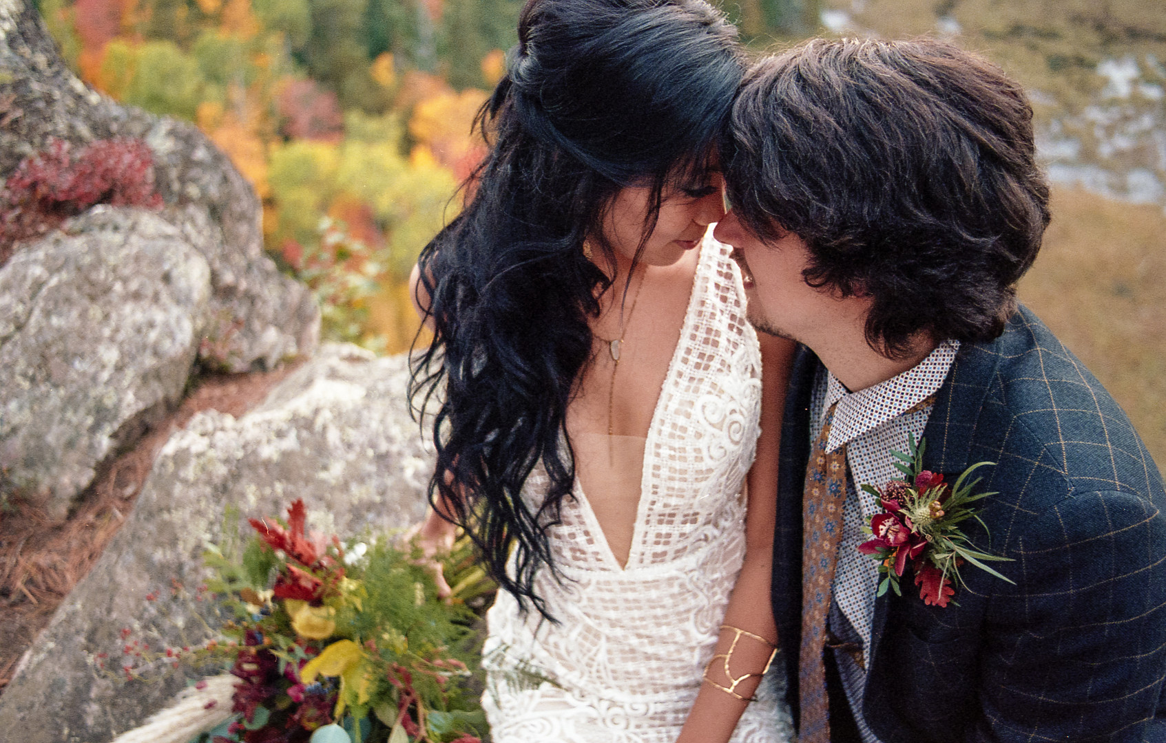 Bride and Groom outdoors in the fall