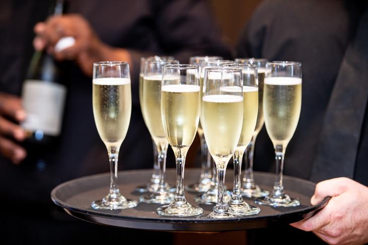 Prosecco welcome, champagne glasses