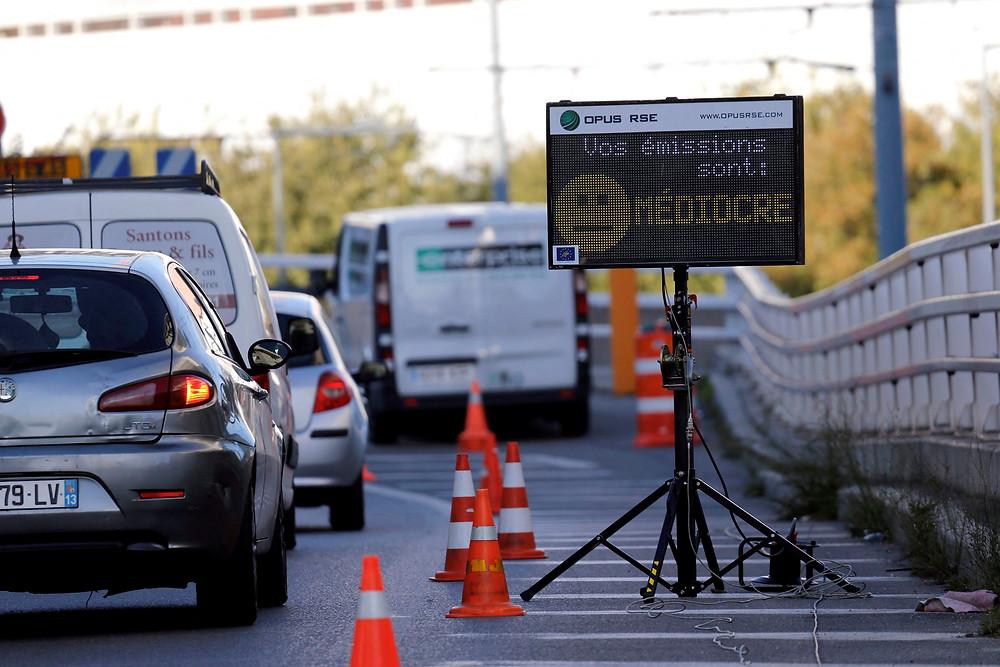 Rincent Air - Mesures émissions véhicules radar pollution - Panneau pédagogique