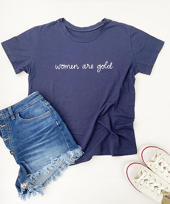Women Are Gold T-Shirt - Navy/White