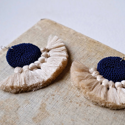 Crochet Earrings - Midnight Blue & Beige
