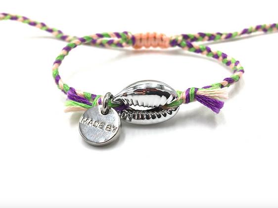 I LOVE Syria - Shell bracelet pink green violet