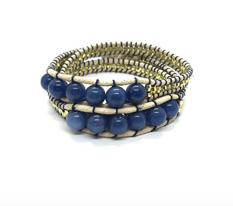 I LOVE Syria - Triple Wrap around bracelet white blue