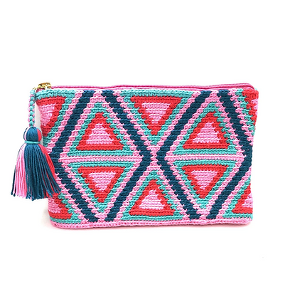 I LOVE SYRIA Clutch - Pink Triangles