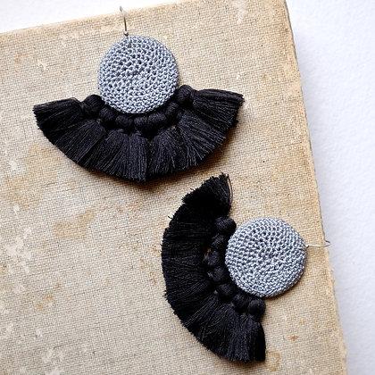 Boucles d'oreilles en Crochet - Gris & Noir