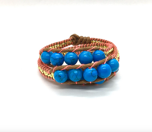 I LOVE Syria - Triple Wrap around bracelet blue and orange