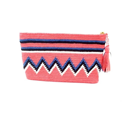I LOVE SYRIA Clutch - Coral and Blue  ZigZag