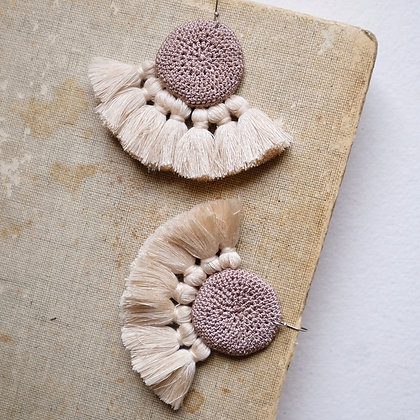 Crochet Earrings - Mink & Beige