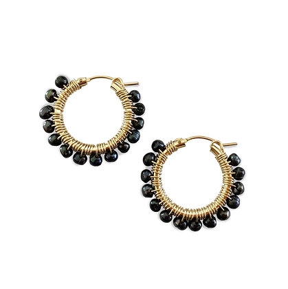 Gemstone Hoops 22 - Black Pearl
