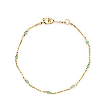 Dainty Gemstone Bracelet - Light Jade