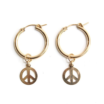 Hoop + Charm Earrings - Peace