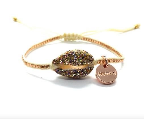 I LOVE Syria - Enamel shell bracelet cream